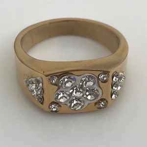 Other - Men Ring Gold Tone Crystal Accents Fashion Jewelry